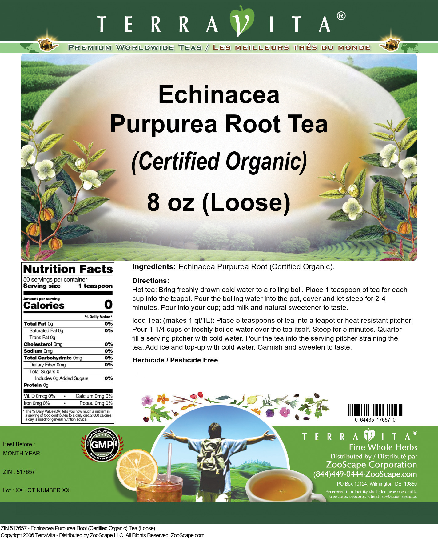 Echinacea Purpurea Root (Certified Organic) Tea (Loose)