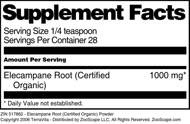 Elecampane Root (Certified Organic) Powder