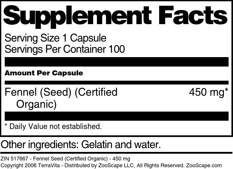 Fennel Seed (Certified Organic) - 450 mg