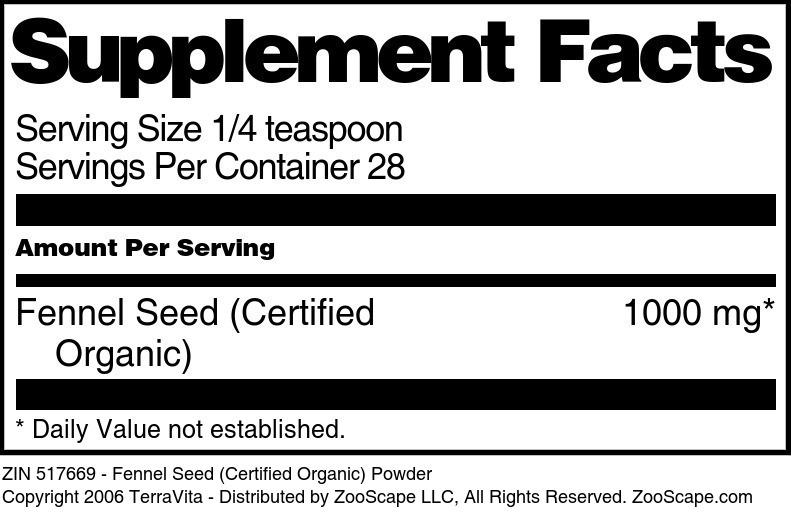 Fennel Seed (Certified Organic) Powder