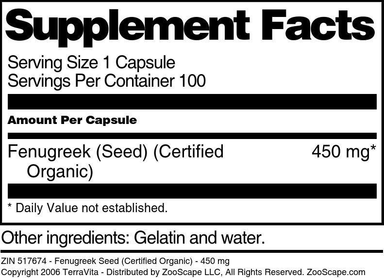 Fenugreek Seed (Certified Organic) - 450 mg