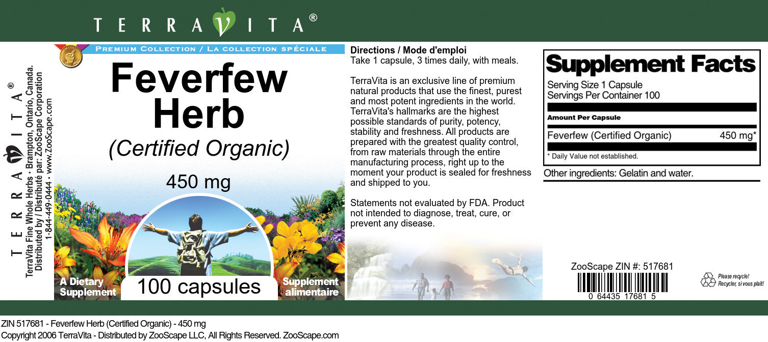 Feverfew Herb (Certified Organic) - 450 mg