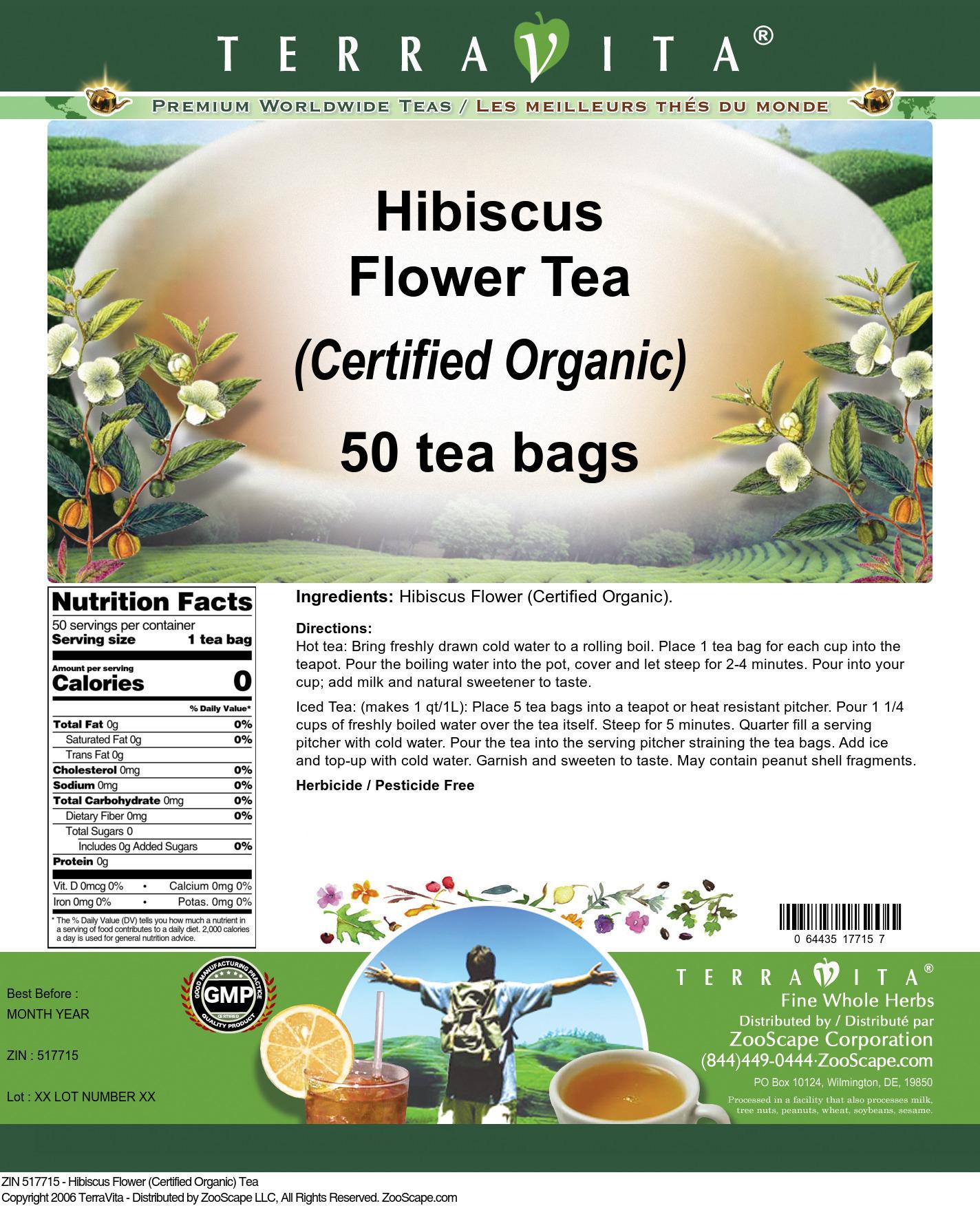 Hibiscus Flower (Certified Organic) Tea - Label