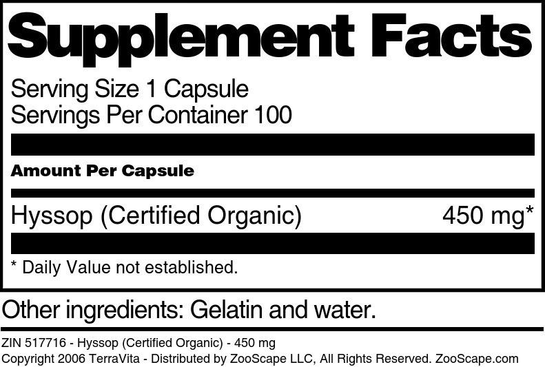 Hyssop (Certified Organic) - 450 mg