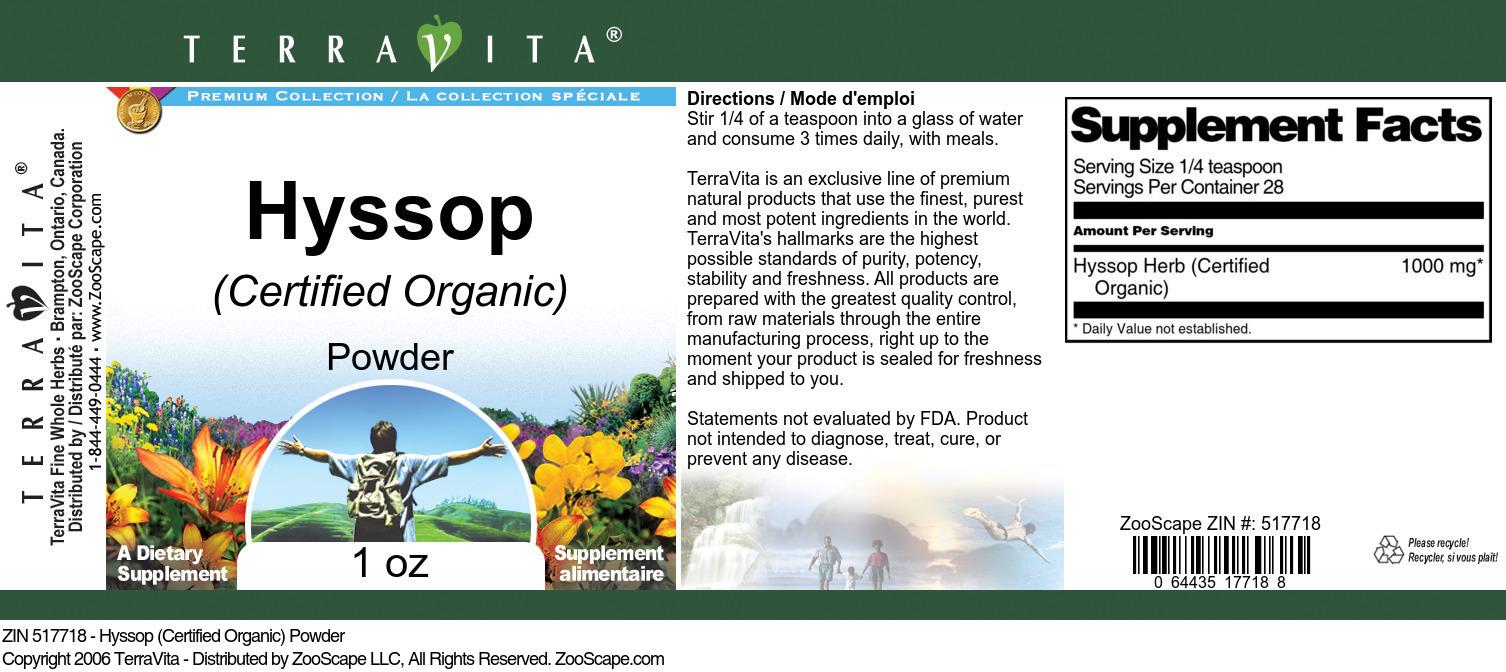 Hyssop (Certified Organic) Powder