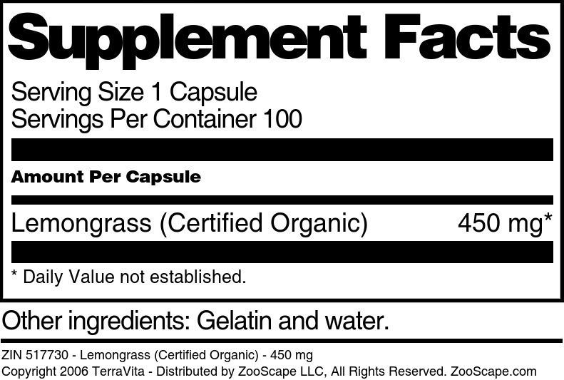 Lemongrass (Certified Organic) - 450 mg