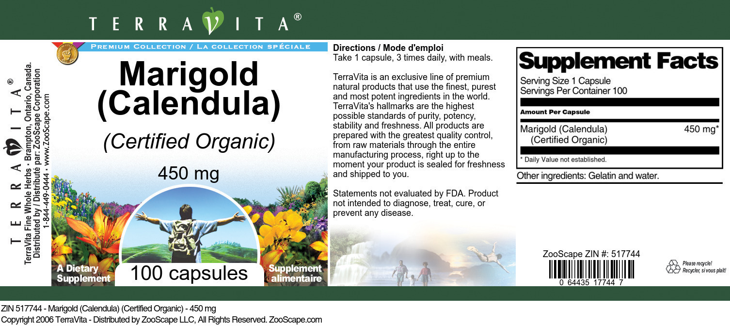 Marigold (Calendula) (Certified Organic) - 450 mg