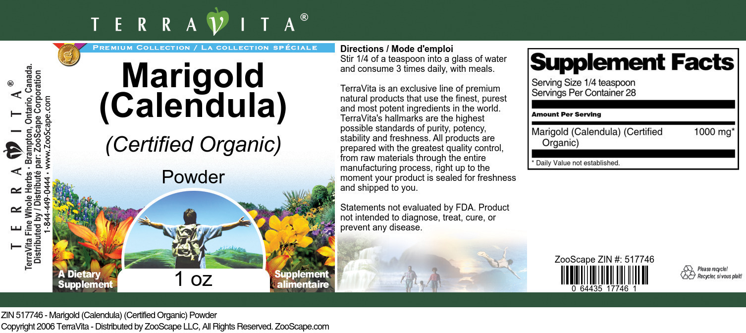 Marigold (Calendula) (Certified Organic) Powder - Label