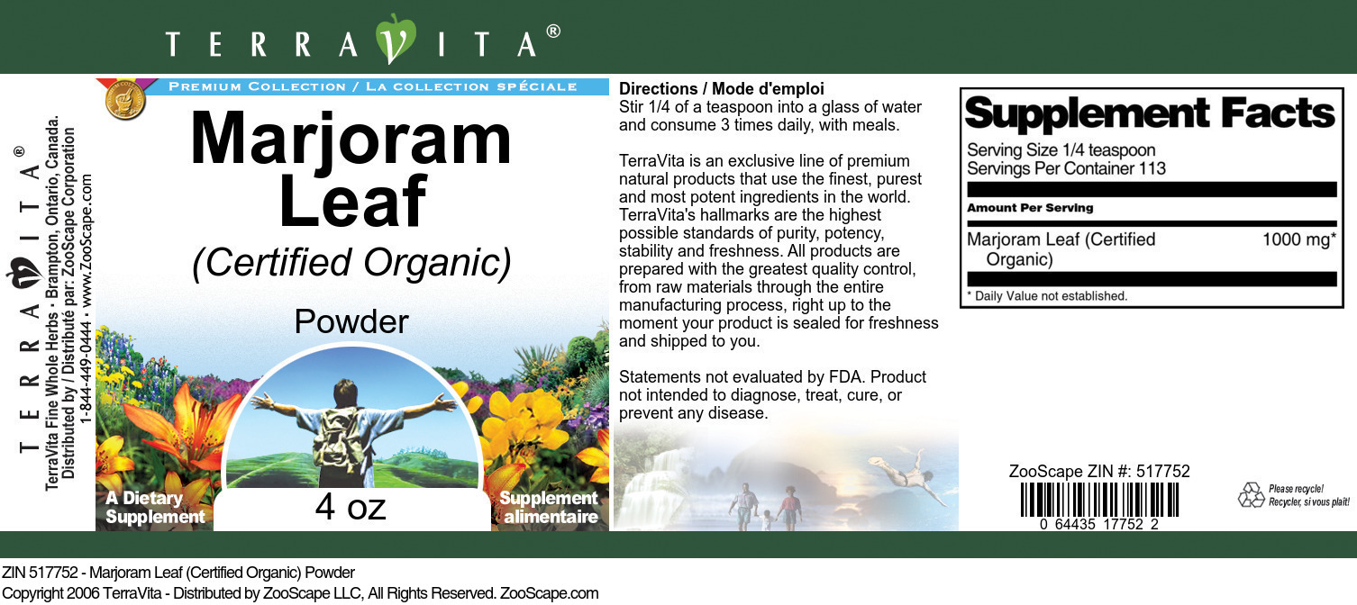Marjoram Leaf (Certified Organic) Powder