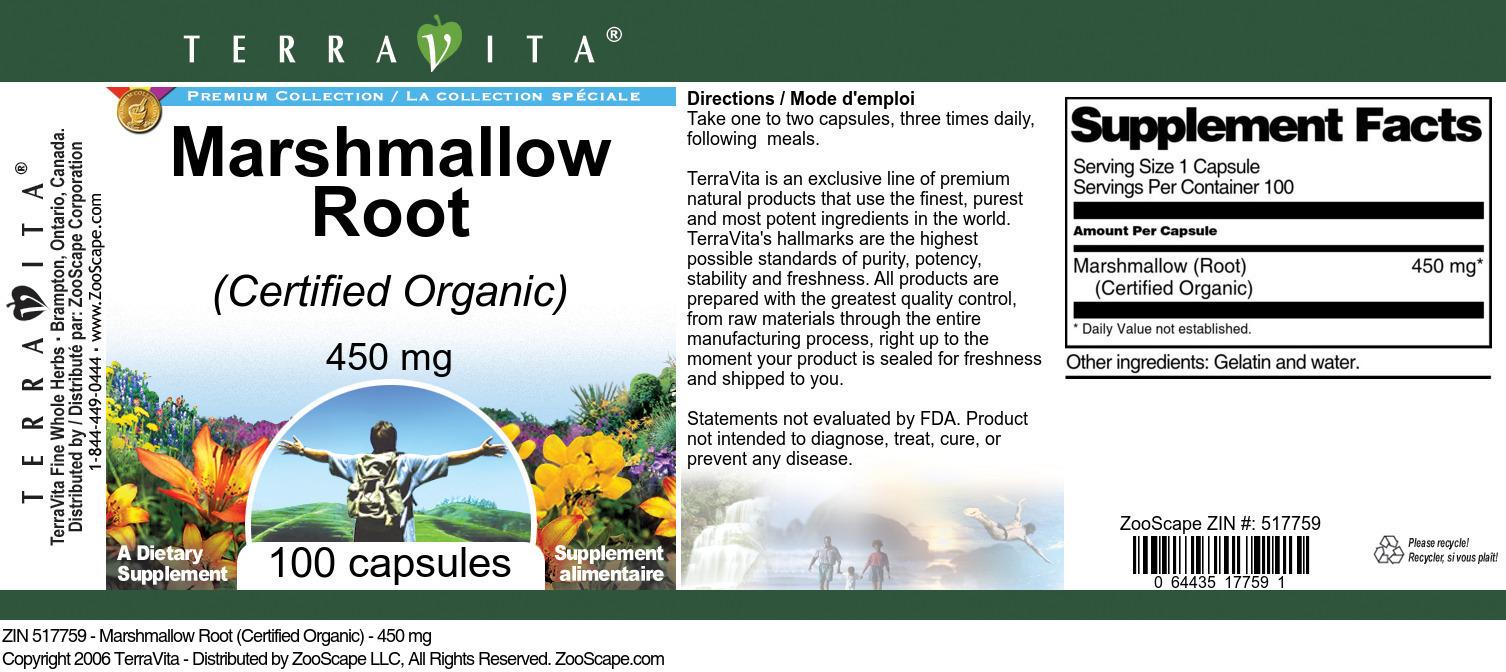 Marshmallow Root (Certified Organic) - 450 mg