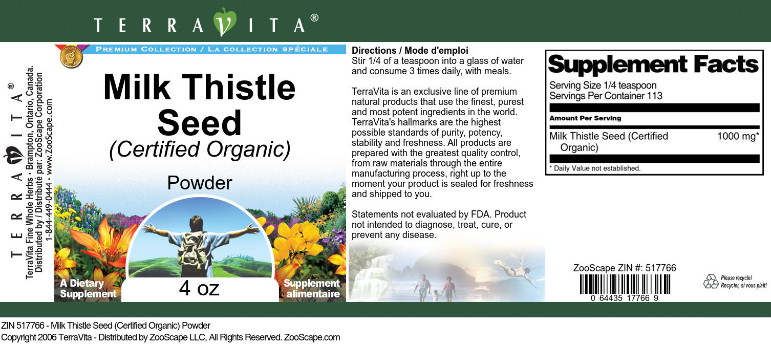 Milk Thistle Seed (Certified Organic) Powder - Label