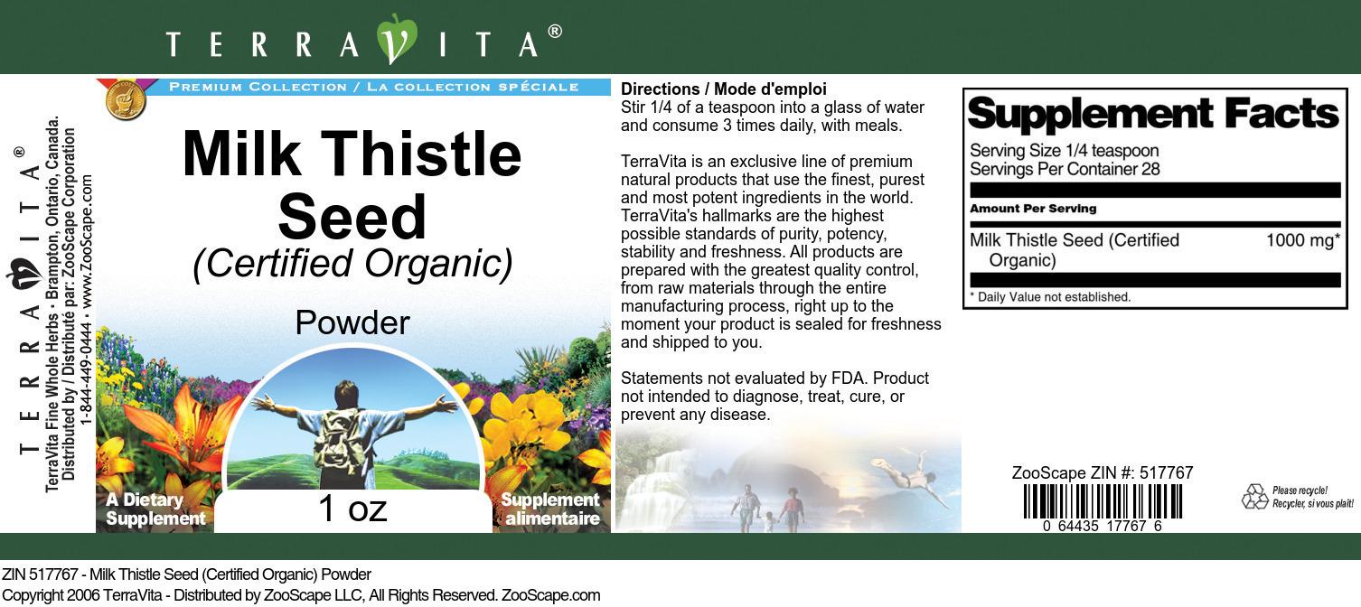 Milk Thistle Seed (Certified Organic) Powder
