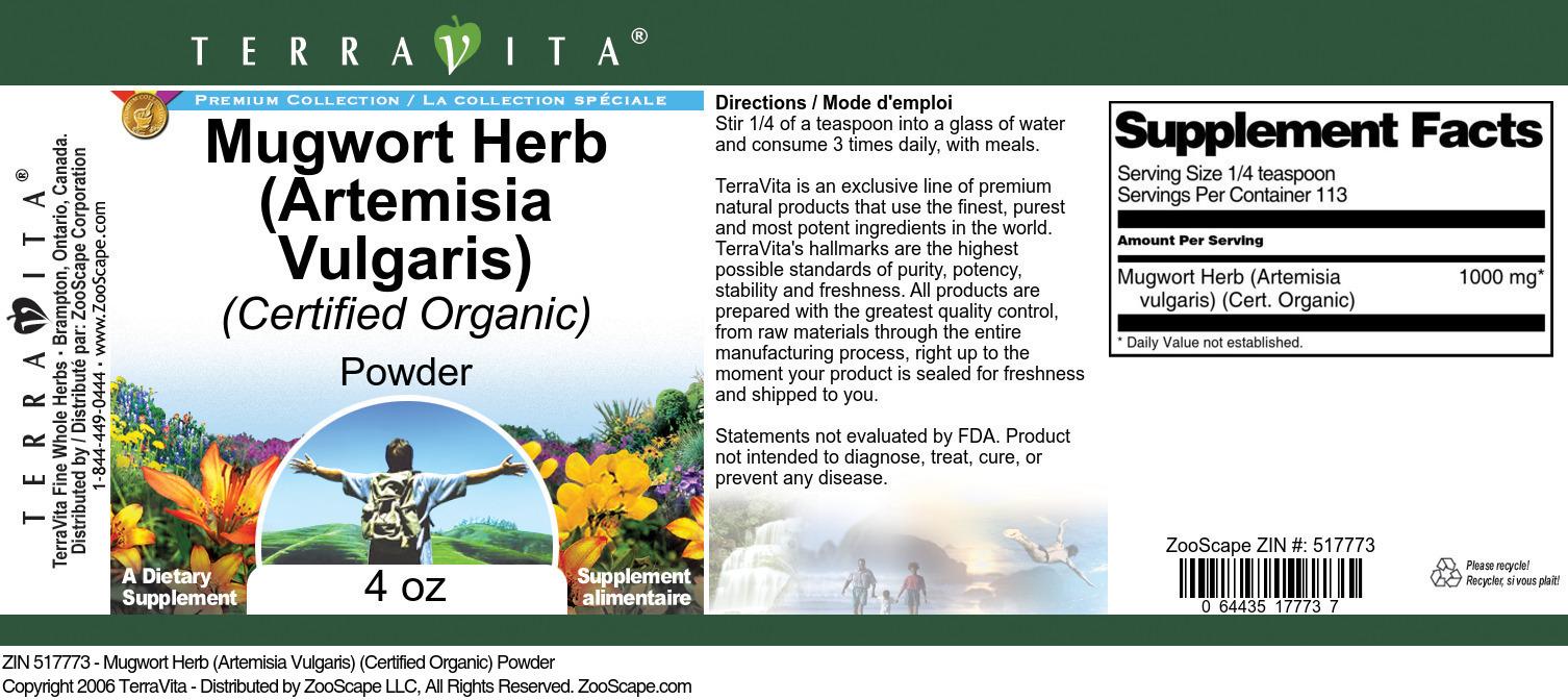 Mugwort Herb (Artemisia Vulgaris) (Certified Organic) Powder