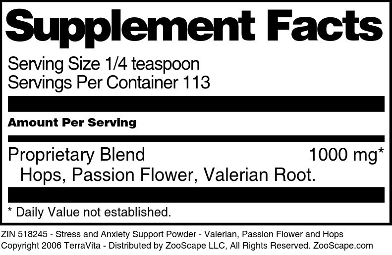 Stress and Anxiety Support Powder - Valerian, Passion Flower and Hops