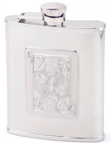 King of Hearts Flask - Black - 6 Ounces