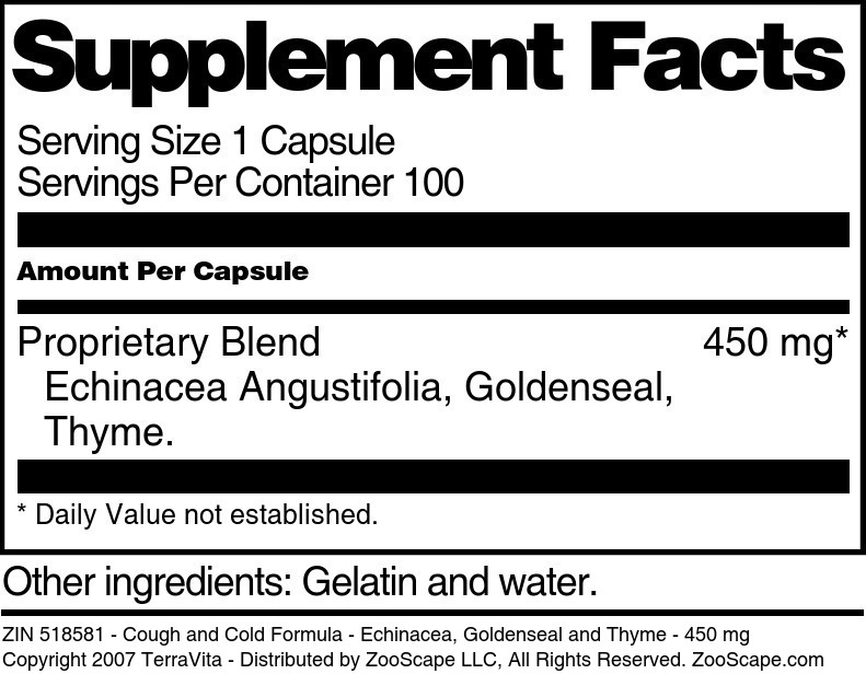 Cough and Cold Formula - Echinacea, Goldenseal and Thyme - 450 mg