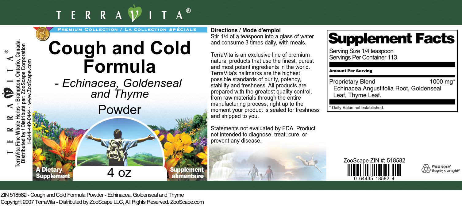 Cough and Cold Formula Powder - Echinacea, Goldenseal and Thyme