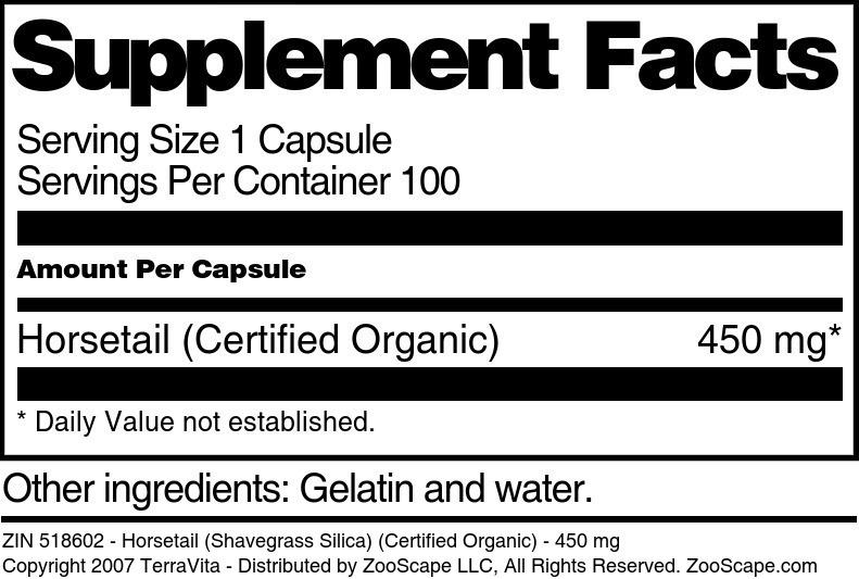 Horsetail (Shavegrass Silica) (Certified Organic) - 450 mg