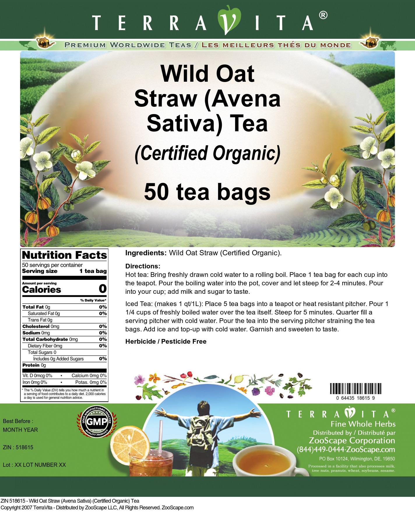 Wild Oat Straw (Avena Sativa) (Certified Organic) Tea