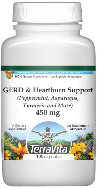 GERD and Heartburn Support - Peppermint, Asparagus, Turmeric and More - 450 mg