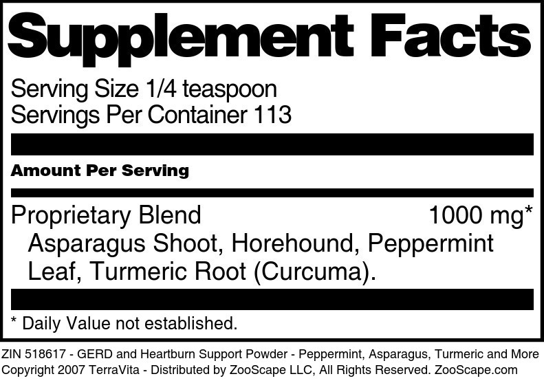 GERD and Heartburn Support Powder - Peppermint, Asparagus, Turmeric and More