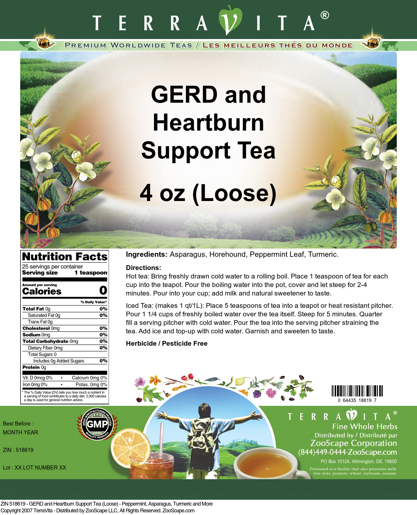 GERD and Heartburn Support Tea (Loose) - Peppermint, Asparagus, Turmeric and More