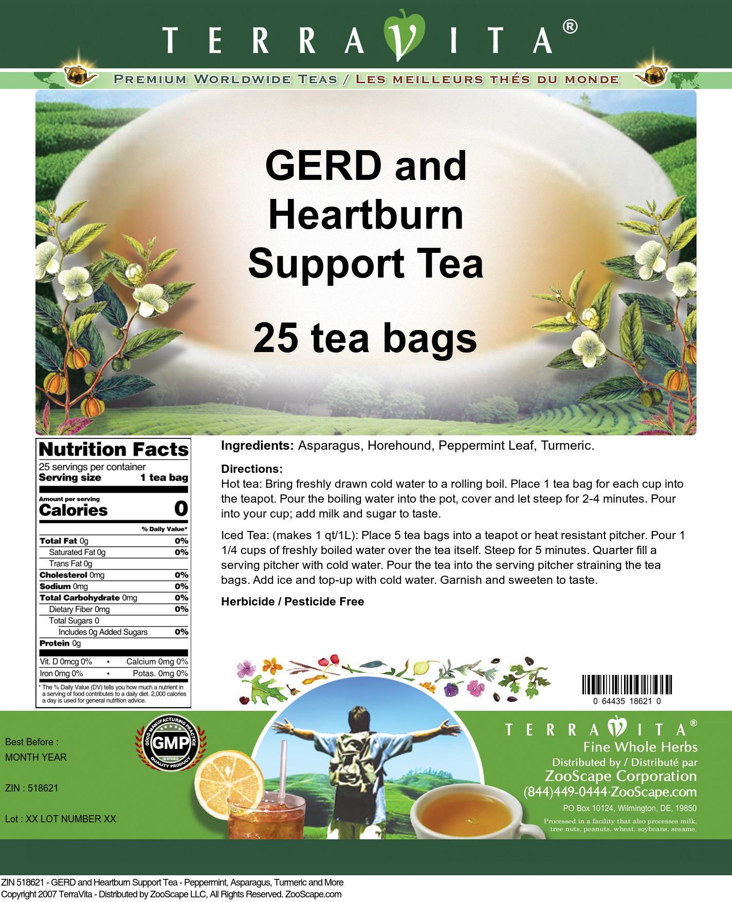 GERD and Heartburn Support Tea - Peppermint, Asparagus, Turmeric and More