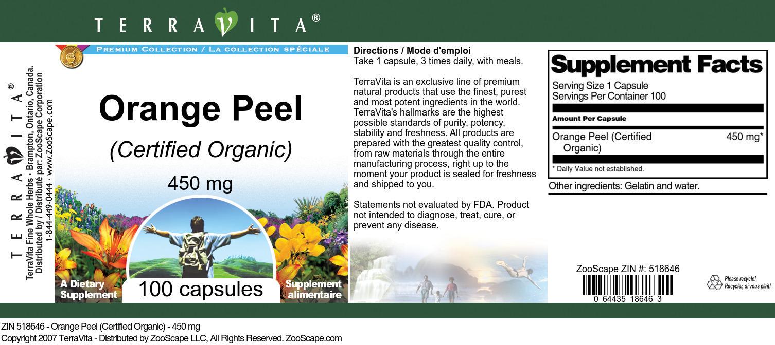 Orange Peel (Certified Organic) - 450 mg