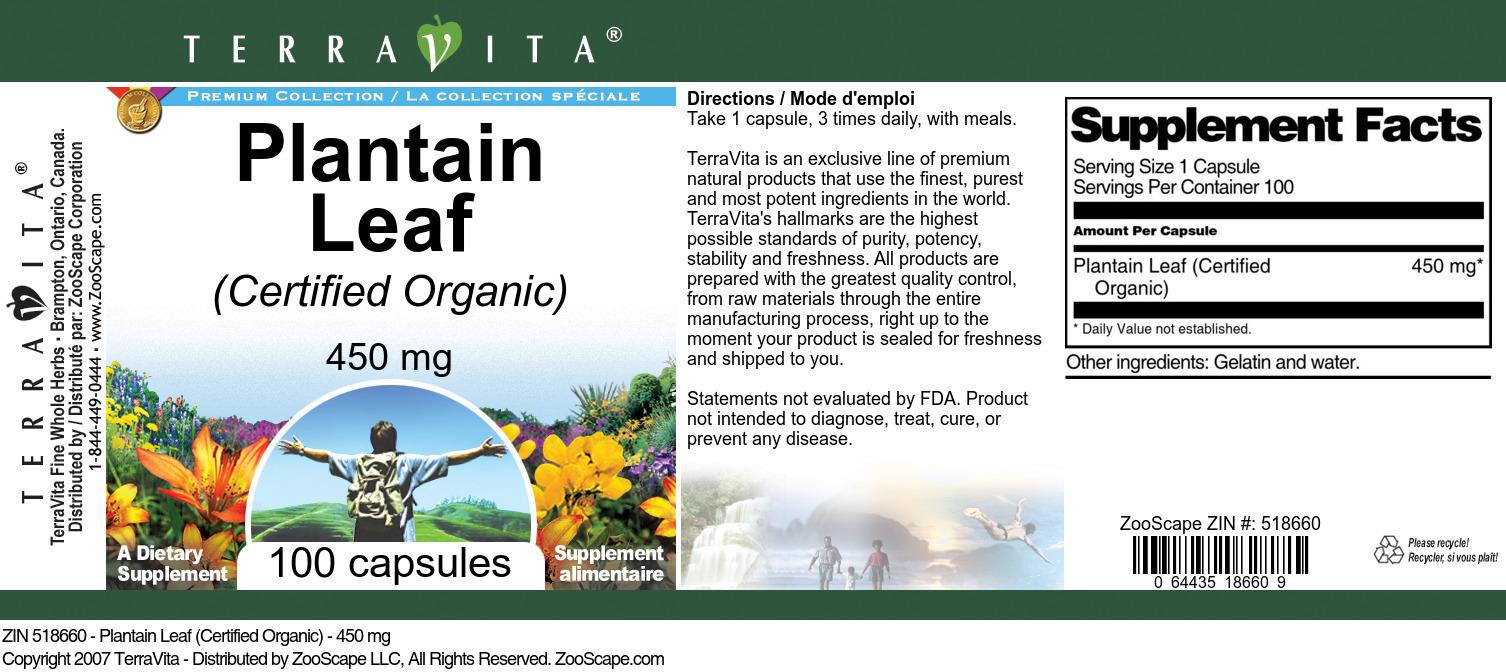Plantain Leaf (Certified Organic) - 450 mg