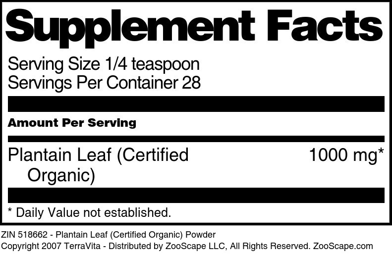 Plantain Leaf (Certified Organic) Powder