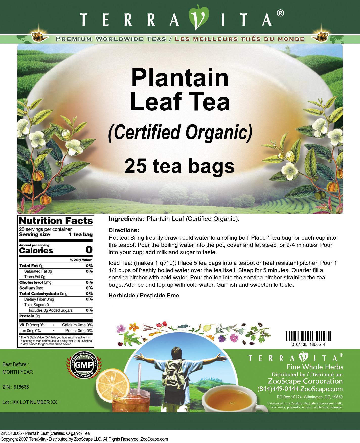 Plantain Leaf (Certified Organic) Tea