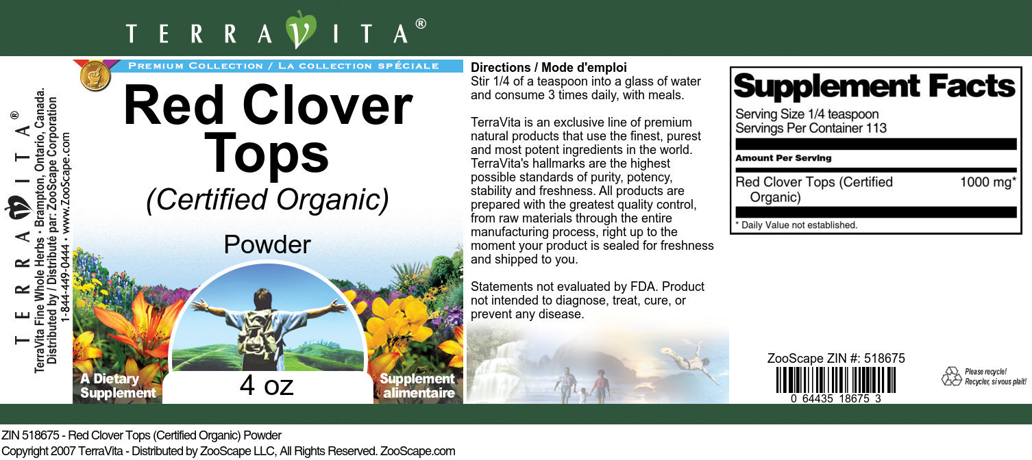 Red Clover Tops (Certified Organic) Powder