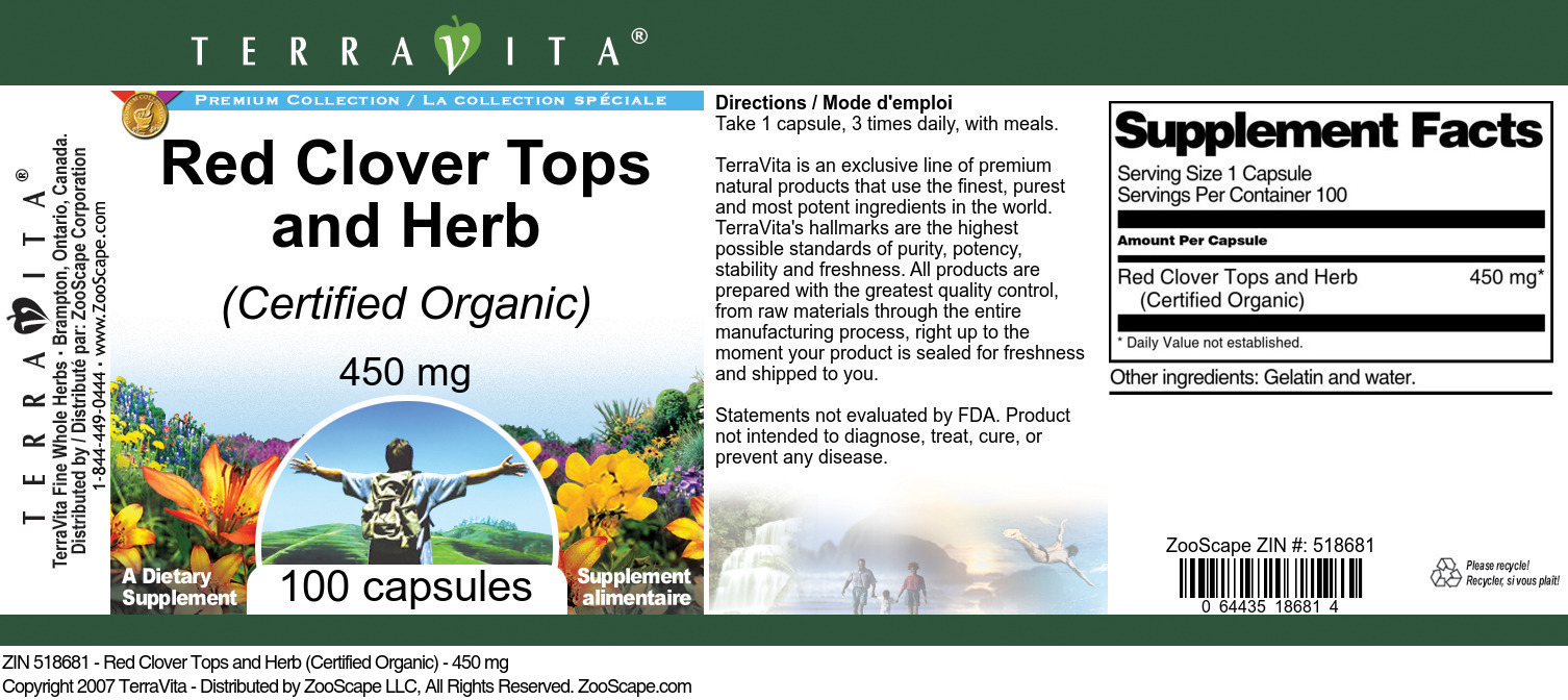 Red Clover Tops and Herb (Certified Organic) - 450 mg