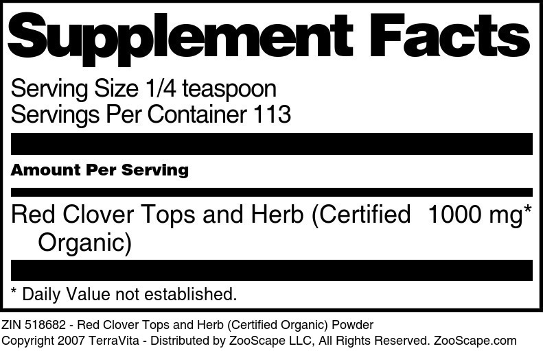 Red Clover Tops and Herb (Certified Organic) Powder