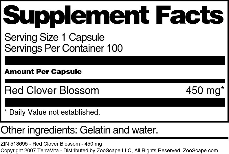 Red Clover Blossom - 450 mg