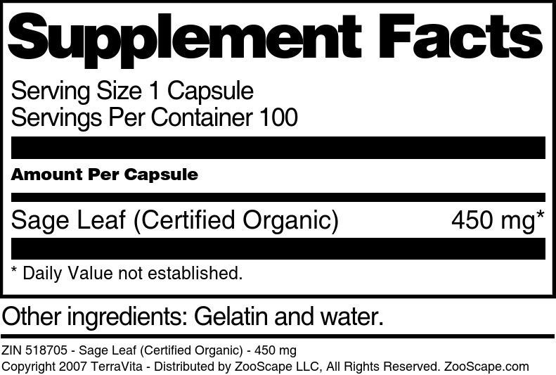Sage Leaf (Certified Organic) - 450 mg