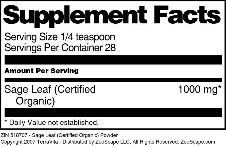 Sage Leaf (Certified Organic) Powder