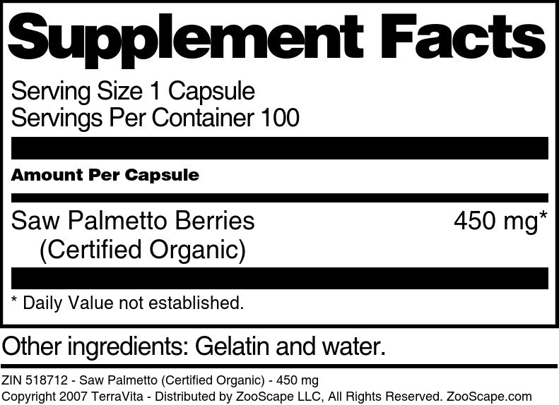 Saw Palmetto (Certified Organic) - 450 mg