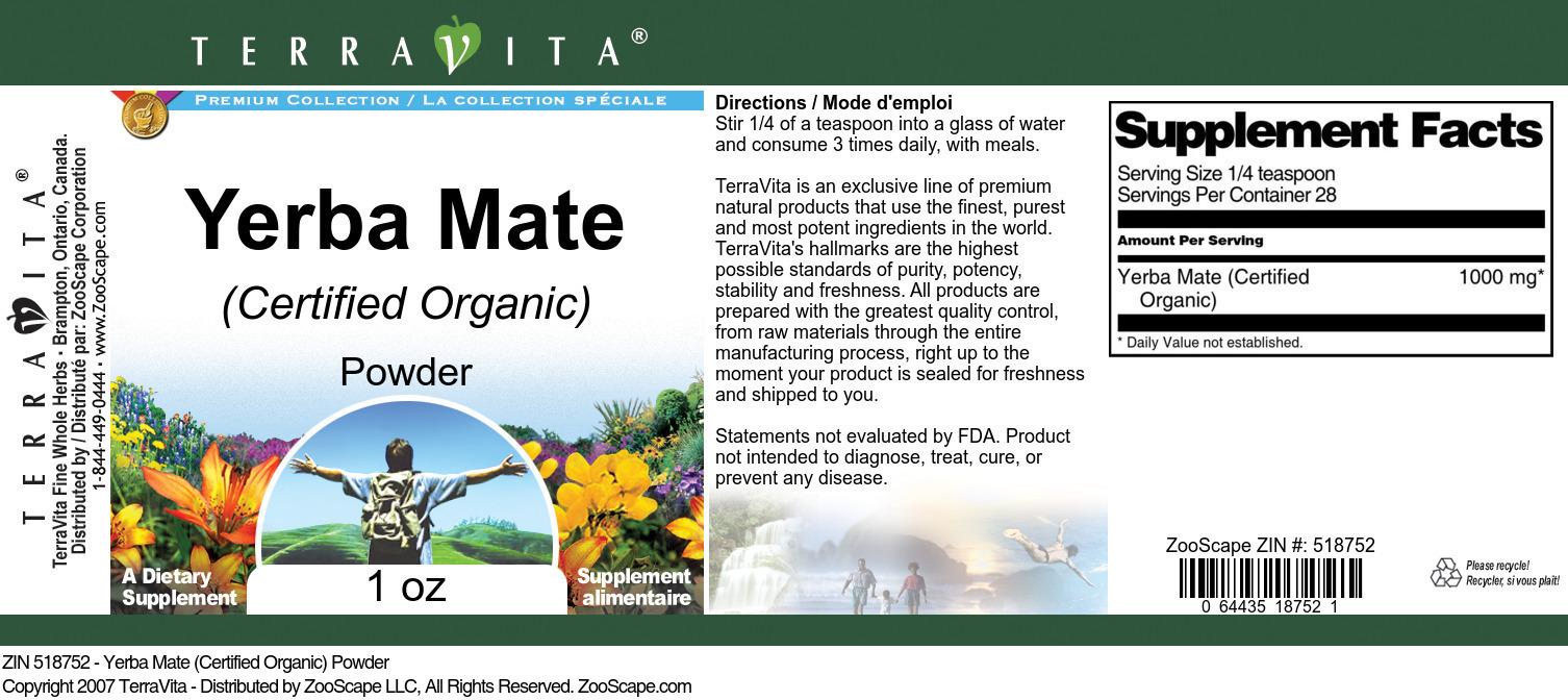 Yerba Mate (Certified Organic) Powder