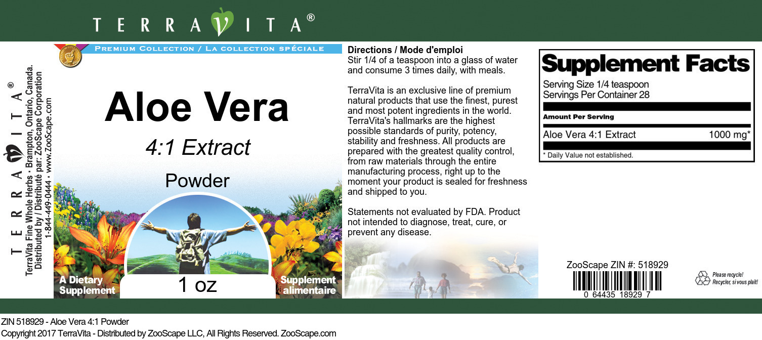 Aloe Vera 4:1 Powder