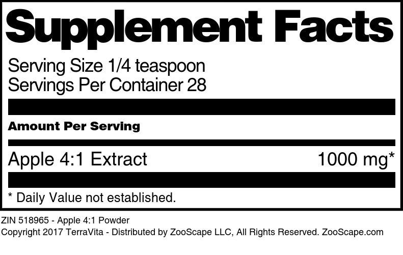 Apple 4:1 Powder - Label