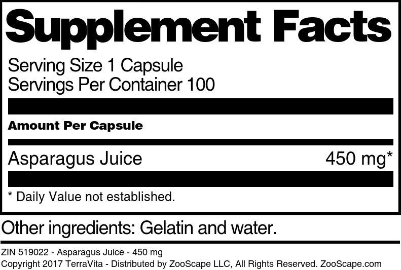Asparagus Juice - 450 mg