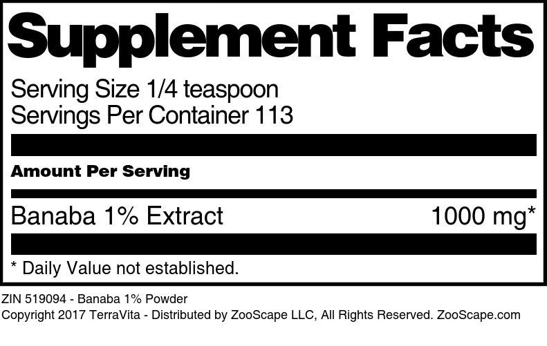 Banaba 1% Powder - Label