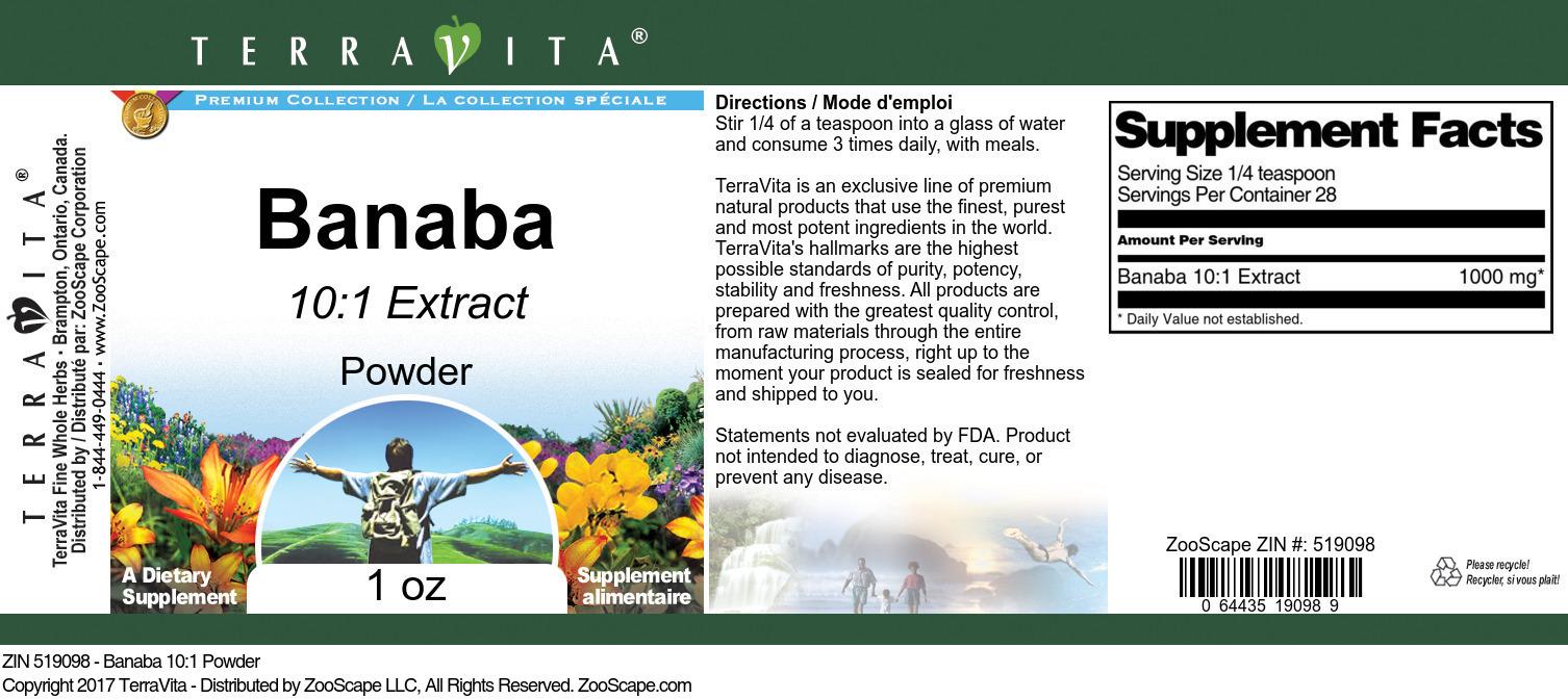 Banaba 10:1 Powder - Label