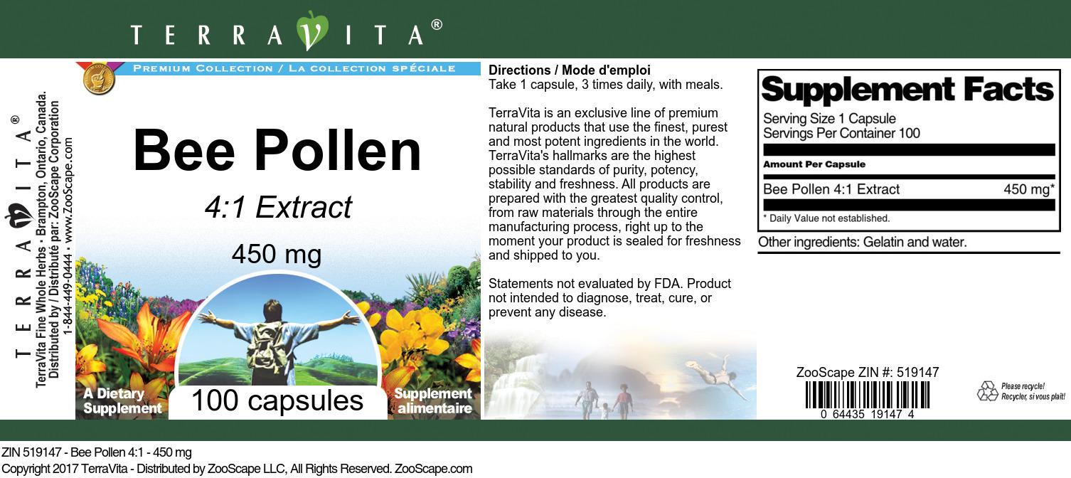 Bee Pollen 4:1 - 450 mg