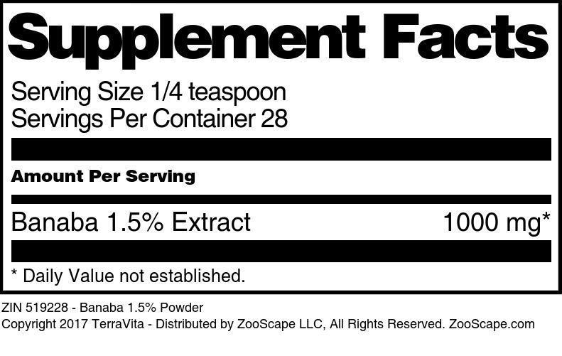 Banaba 1.5% Powder - Label