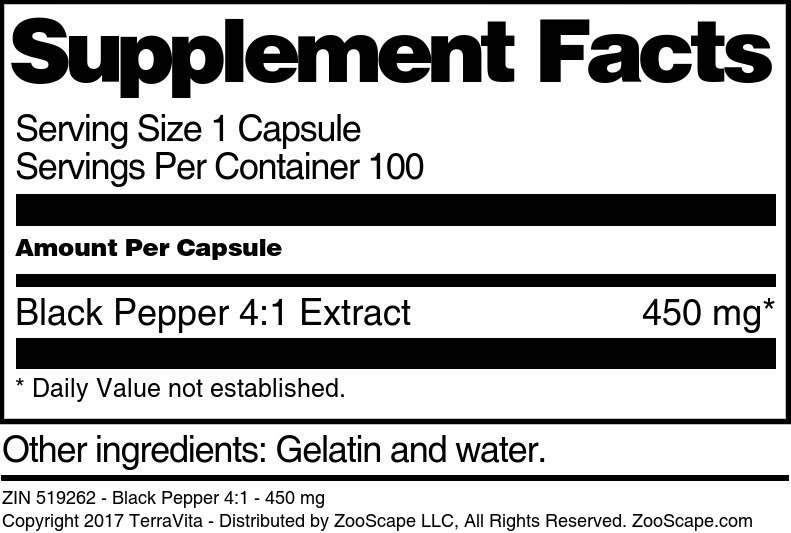 Black Pepper 4:1 - 450 mg