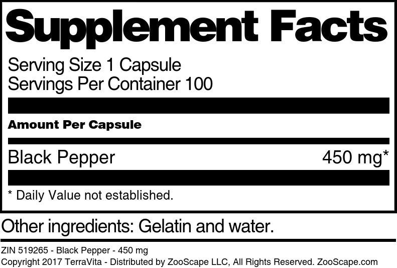 Black Pepper - 450 mg