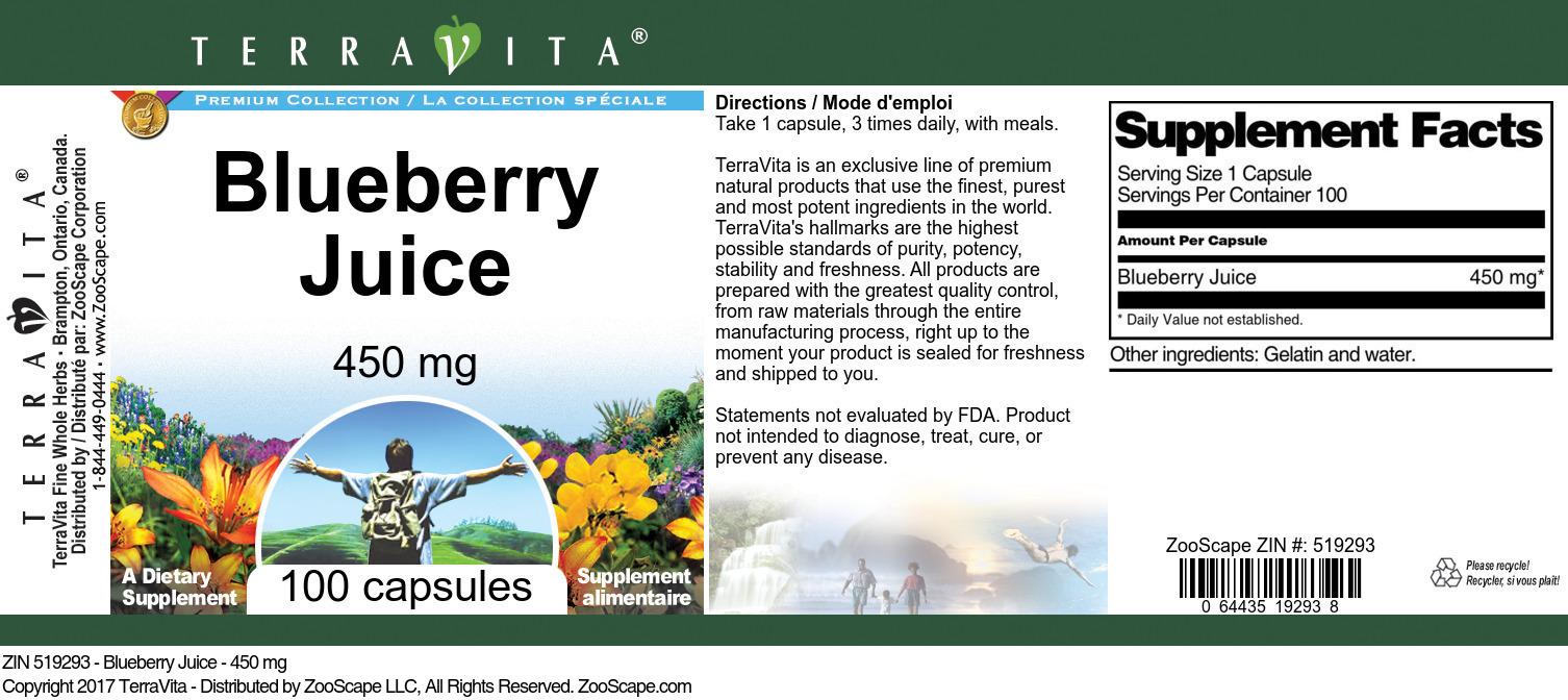 Blueberry Juice - 450 mg