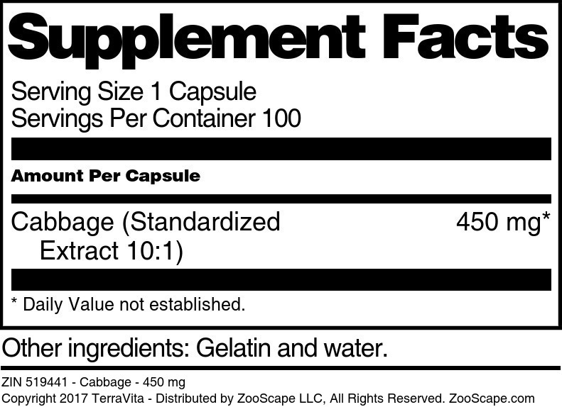 Cabbage - 450 mg